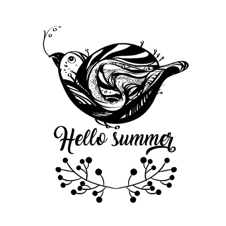 Funny little bird in black colour, single composition on a white background, with a Hello Summer lettering. Vector illustration. Illustration