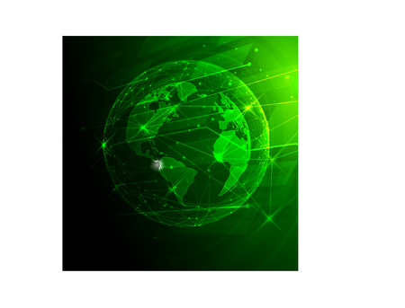Vector illustration of green colour shows the planet and the lines of light going from it. Illustration