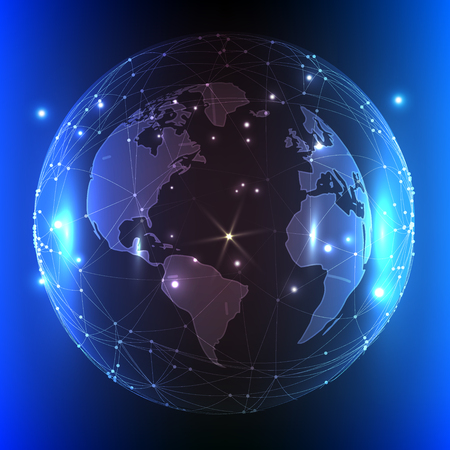 globe grid: Modern blue vector illustration with the image of our planet.