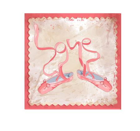 Pink ballet shoes - retro illustration in frame on smoky background