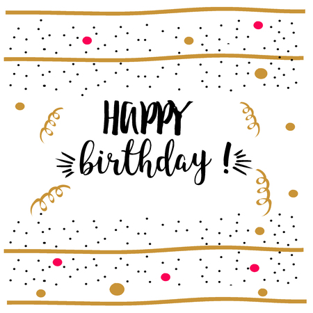happybirthday: Happy Birthday.Beautiful greeting card scratched calligraphy black text word gold decorations. Handwritten modern brush lettering white background isolated vector