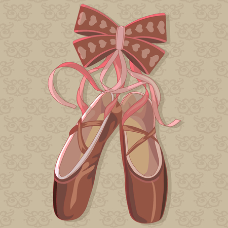 Bright pink pointes with a decoration in form of bow. Beautiful solution for your design - fresh and nice illustration.