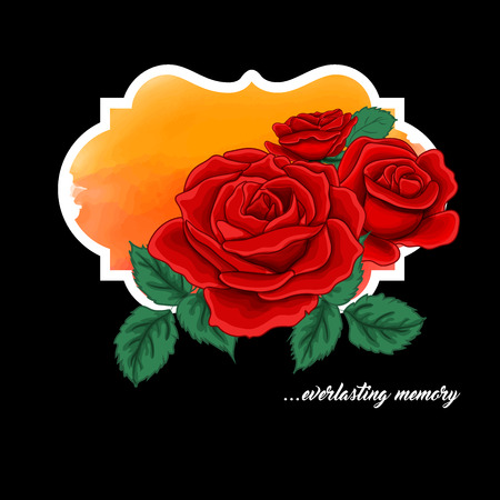 roze: Vector rozes with leaves on orange and blak background, vector illustration is an already done image for your invittion to wedding, celebration, birthday.