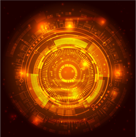 Abstract background - vector illustration symbolixes Universe. Dark background and orange circle on it. Flashes of light add the picture. Is a good image for you business needs, any type of products presentation. Stock Photo