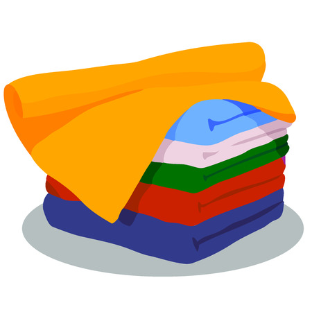 Vector set of towel- different colours, 5 items