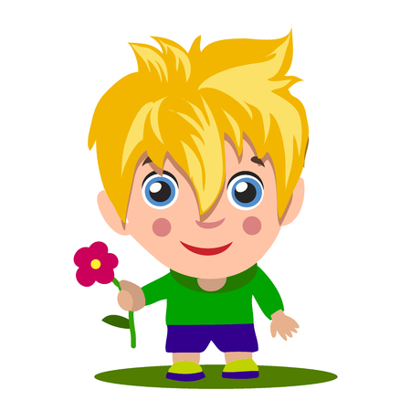 Cartoon boy giving you thumbs up. Blonde with blue eyes,. Holds a flower in his hand, a romantic boy