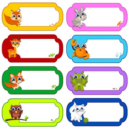 funny pictures: Illustration of many animals in a colored frames. Color vector illustration. Frame. Child. Horizontal orientation.