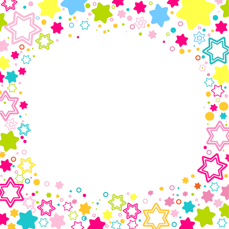 Vector square frame with colored stars on the white background, sparkles Colored confetti symbols - star glitter, stellar flare. Flat style for decorating your design Illustration
