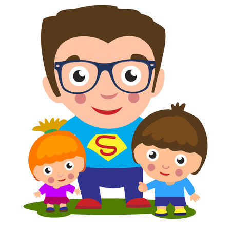 superhero concept, father with son and a little daughter, a happy family, for your design Father s day greeting card, happy cartoon character, family power, color vector illustration