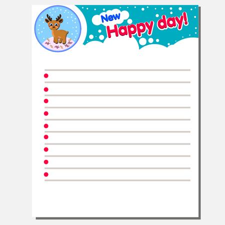 Leer gezeichnetes Notizbuch Papierblatt. Text New Happy Day Die Idee für ein Kinder-Tagebuch