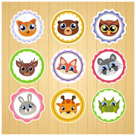 Cartoon dieren stickers. Geschikt voor het decoreren van kinderen producten. Vector kunst