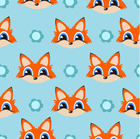 Fox seamless pattern. Texture vector background. Childish background with cartoon character. Illustration