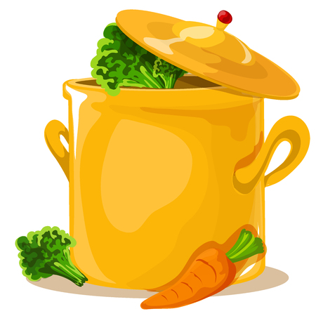 Hot pan isolated, saucepan on the stove, pan icon, cook. Flat design. Vector