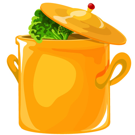 Soup pot. Yellow saucepan with a lid on top. Close-up. Isolated on white background Illustration