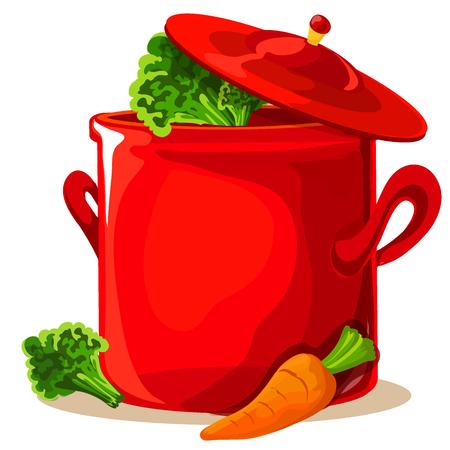 上ふたと現実的な赤い鍋。クローズ アップ。背景に分離されました。ベクトル図  イラスト・ベクター素材