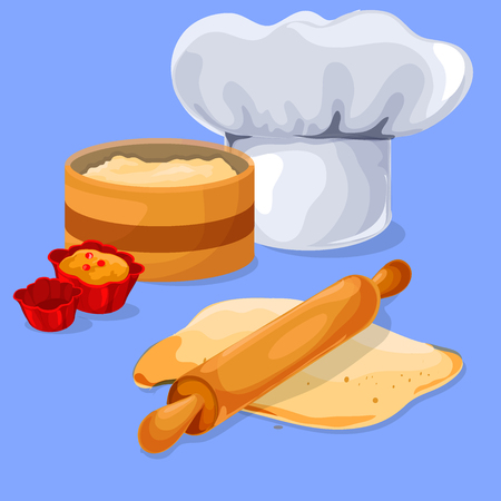 rolling pin: Dough and rolling pin on a wooden board. Chef Chef Cap. Baking cupcakes. Design elements for your banner