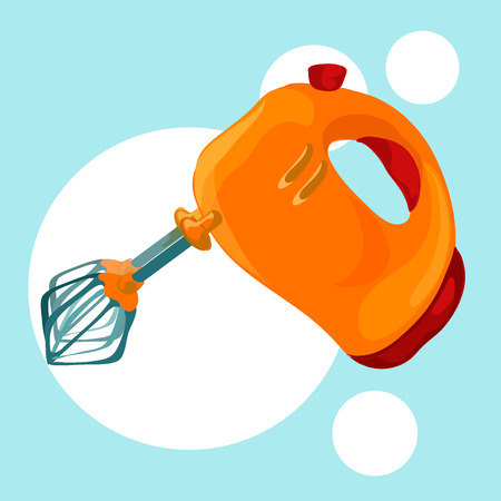 hand mixer icon, vector illustration on blue background for the design of a culinary theme