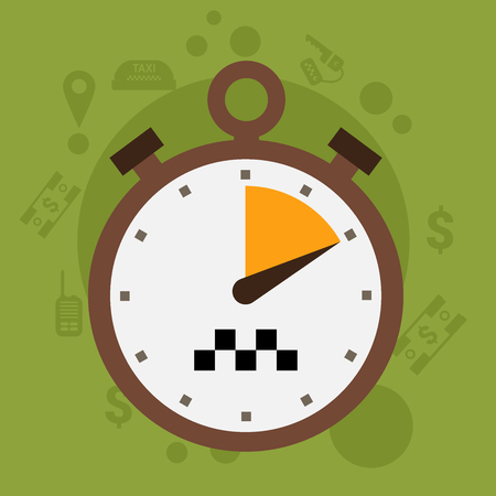 Vector taxi car stopwatch icon flat style Illustration