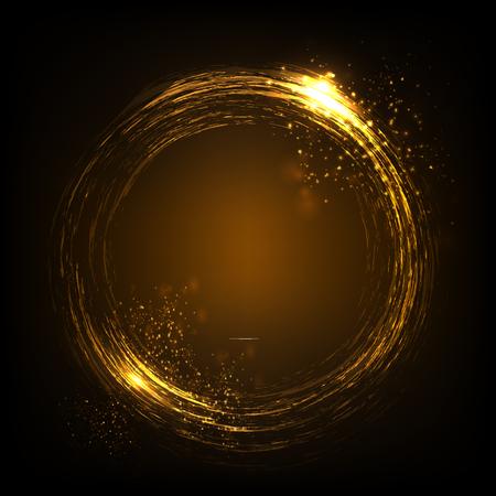 きらびやかなスター ・ ダスト ライト サークル。金の星。暗い背景で隔離の図。あなたのデザインのグラフィックのコンセプト 写真素材 - 83573557