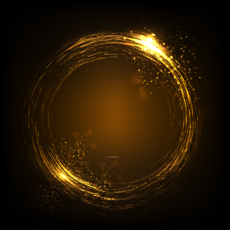 Glittering star dust lights circle. Gold stars. Illustration isolated on dark background. Graphic concept for your design