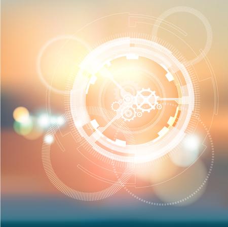 ブルー ピンク背景にベリリウム原子構造体。光の波。抽象的な背景