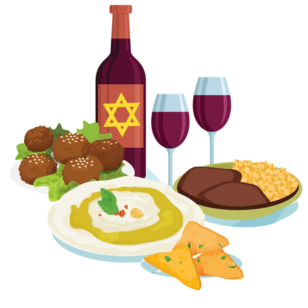 Traditional dinner for Jewish New Year Holiday Rosh Hashahah. Vector illustration, elements for your design Illustration