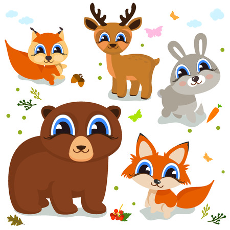 Set of cute cartoon animals for your design of children s themes. Vector illustration
