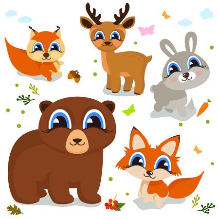 Set of cute cartoon animals for your design of children s themes. Vector illustration Banco de Imagens - 83692108