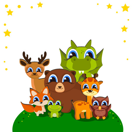 Cartoon wild animals background For your design on a children s theme. Cute vector illustration isolated on white background Banco de Imagens - 83972719