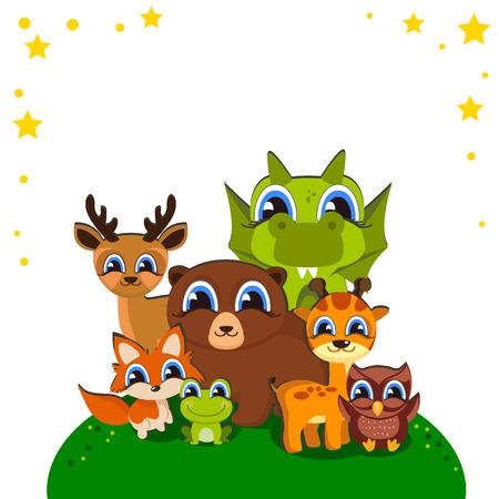 Cartoon wilde dierenachtergrond Voor uw ontwerp op een thema van een kind. Leuke vector illustratie geïsoleerd op een witte achtergrond