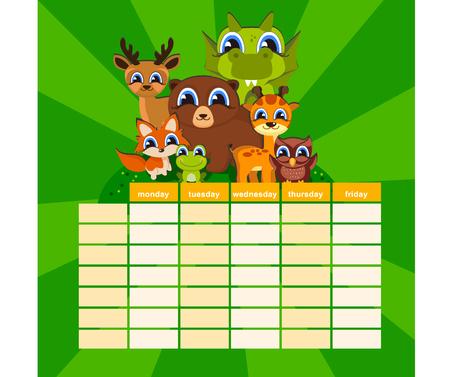Modelo de nota diária fofo. Papel de caderno e adesivos conjunto com ilustrações de animais engraçados de vetor. Bom para as crianças. Fundo divertido. Organizador e Agenda. Foto de archivo - 83821705