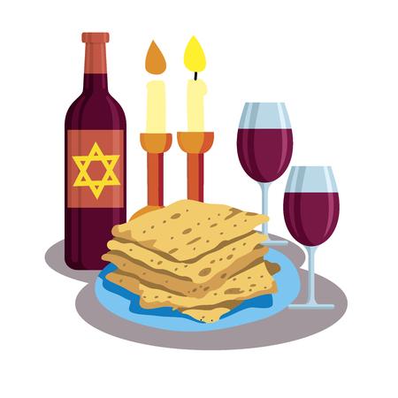 Kabbalat Shabbat, family dinner. greeting card Shabbat shalom, candles, cups and matzo. Jewish Holiday vector illustration