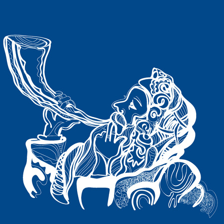 jewish: man sounding a shofar , Jewish horn. May You Be Inscribed In The Book Of Life For Good in Hebrew. vector illustration On a blue background. White and blue colors of holy Israel Illustration