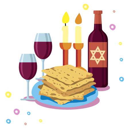 Greeting card Shabbat shalom, candles, cups and matzo. Jewish Holiday vector illustration