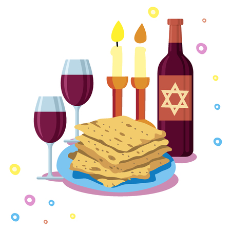 Greeting card Shabbat shalom, candles, cups and matzo. Jewish Holiday vector illustration