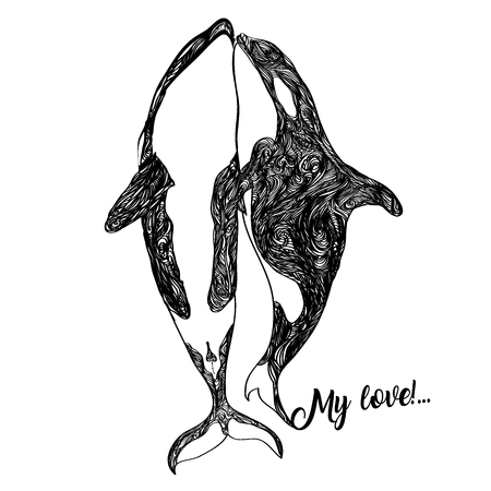 Ethnic Animal Doodle Detail Pattern - Killer Whale Zentangle Illustration. Fantasy sketch. Abstract monochrome drawing isolated on a white background