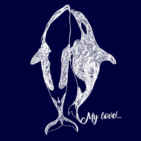 Family of killer whales swim breathing together inside ocean a hand drawn drawing translated into a vector. Modern illustration for the invitation card or print on the T-shirt.