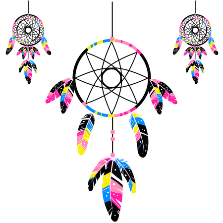 swelled: Dream catcher sign. CMYK icons Isolated on white background. Vector illustration. Cyan, magenta, yellow, key black