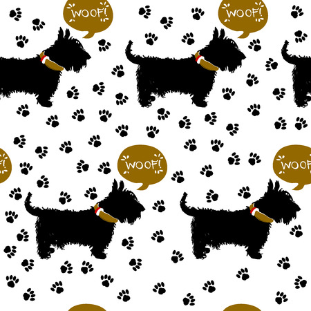 leavings: Dog happy terrier, silhouette on the background of a print of paws. Vector illustration