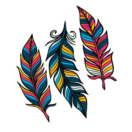 羽はベクトル フラット スタイルのセットです。明るい背景にアイコン羽が分離されました。シンプルなアイコン デザインの要素として羽。  イラスト・ベクター素材