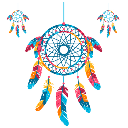 Set Colored Dream catcher, Isolated on white background. vector illustration. Tribal symbol with feathers.