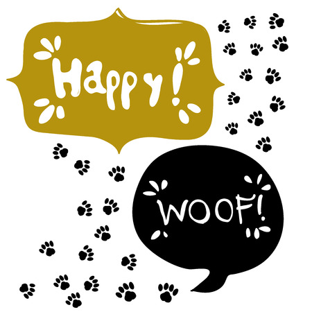 Paw design with speech bubble. Illustration