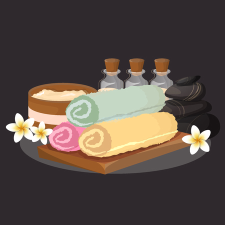 spa still life: Vector set, design elements on SPA and healthy lifestyle theme. Isolated on Black background. Illustration
