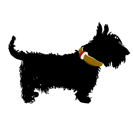 Vector black silhouette of a Scottish terrier dog isolated on a white background. Vector illustration