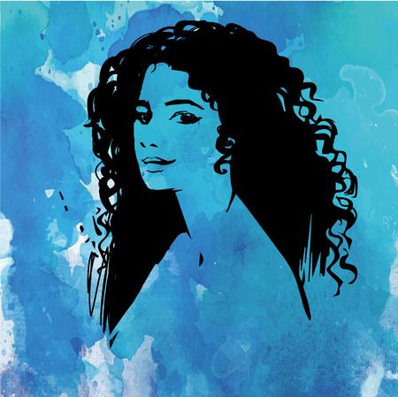 아름 다운 곱슬 머리와 아름 다운 여자 얼굴, 메이크업 및 중립 식. 양식에 일치시키는 손으로 그린 여자 초상화입니다. 수채화 파란색 배경에 실루엣