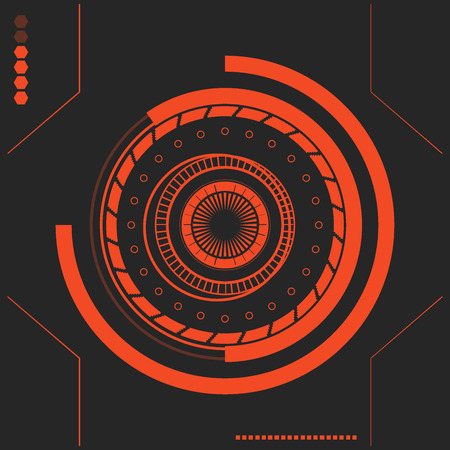 electronic background: Red Sci fi futuristic user interface. abstract hexagon pattern. Abstract vector background. The interface of the future. in the style of flat