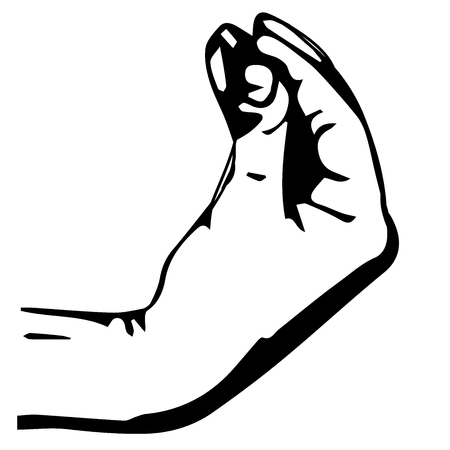 jewish man. Hand gesture, pinch up. Vector illustration Doodle style