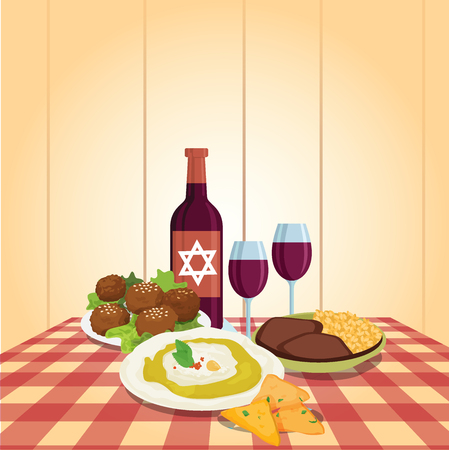 saturday night: Kabbalat Shabbat, family night meal, colorful vector cartoon. Religious traditions. Judaism