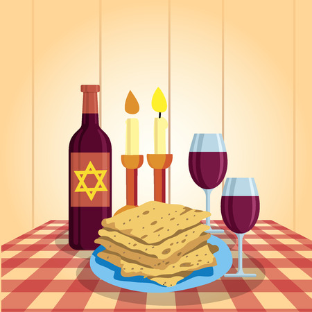Shabbat shalom. Candles, kiddush cup and matzo. Religious traditions. Judaism Vector illustration Stock Vector - 85709022