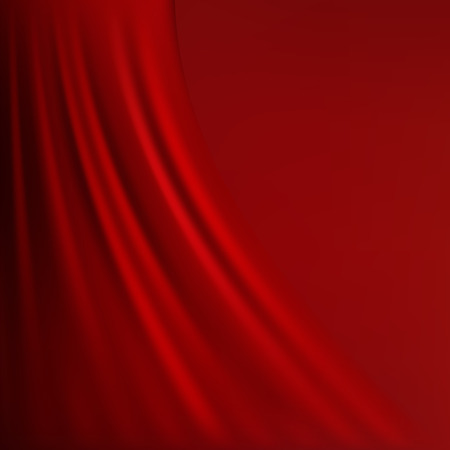 Abstract red background cloth or liquid wave illustration of wavy folds of silk texture satin or velvet material or red luxurious background wallpaper design of elegant curves red material. Vettoriali